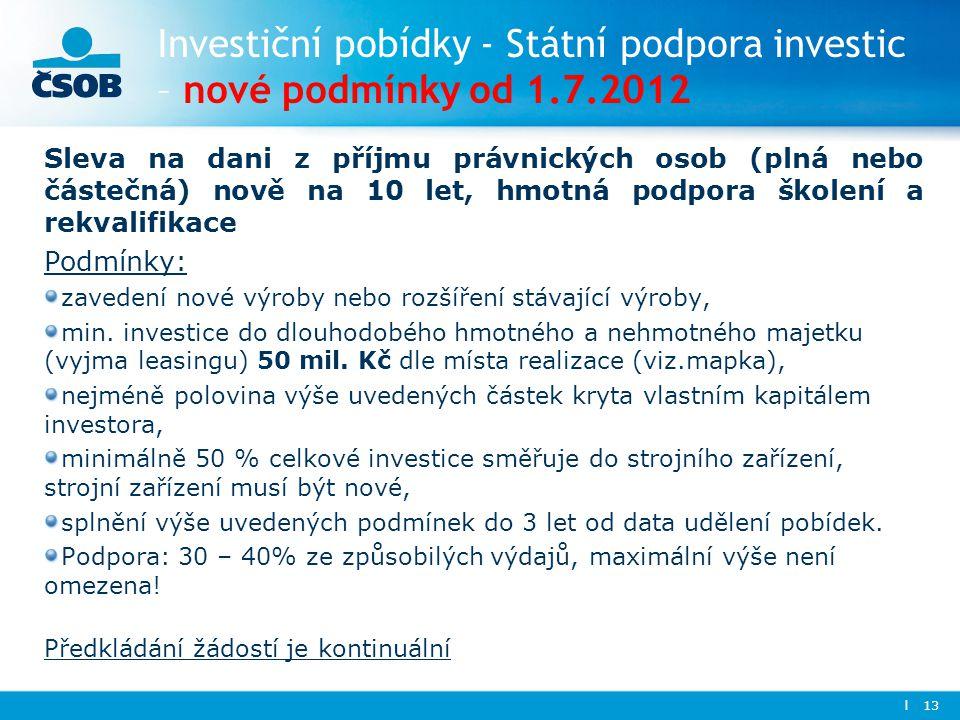 Investiční pobídky - Státní podpora investic – nové podmínky od 1. 7