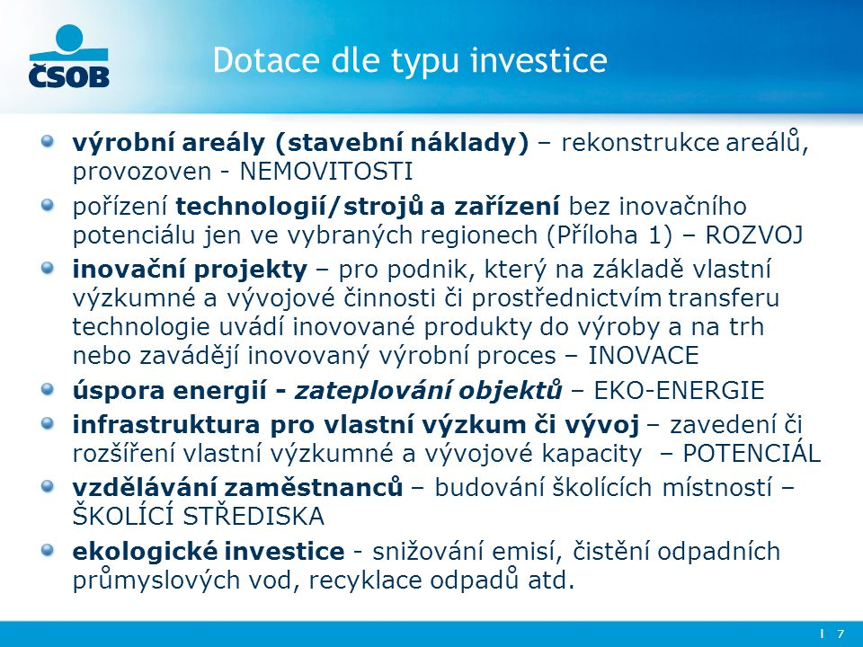 Dotace dle typu investice