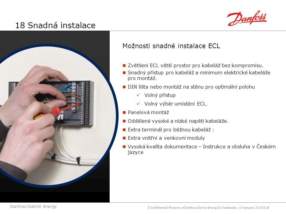 18 Snadná instalace Možnosti snadné instalace ECL