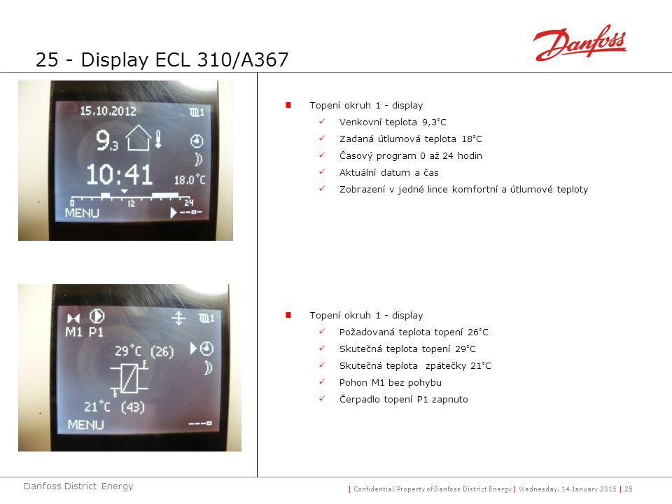 25 - Display ECL 310/A367 Topení okruh 1 - display