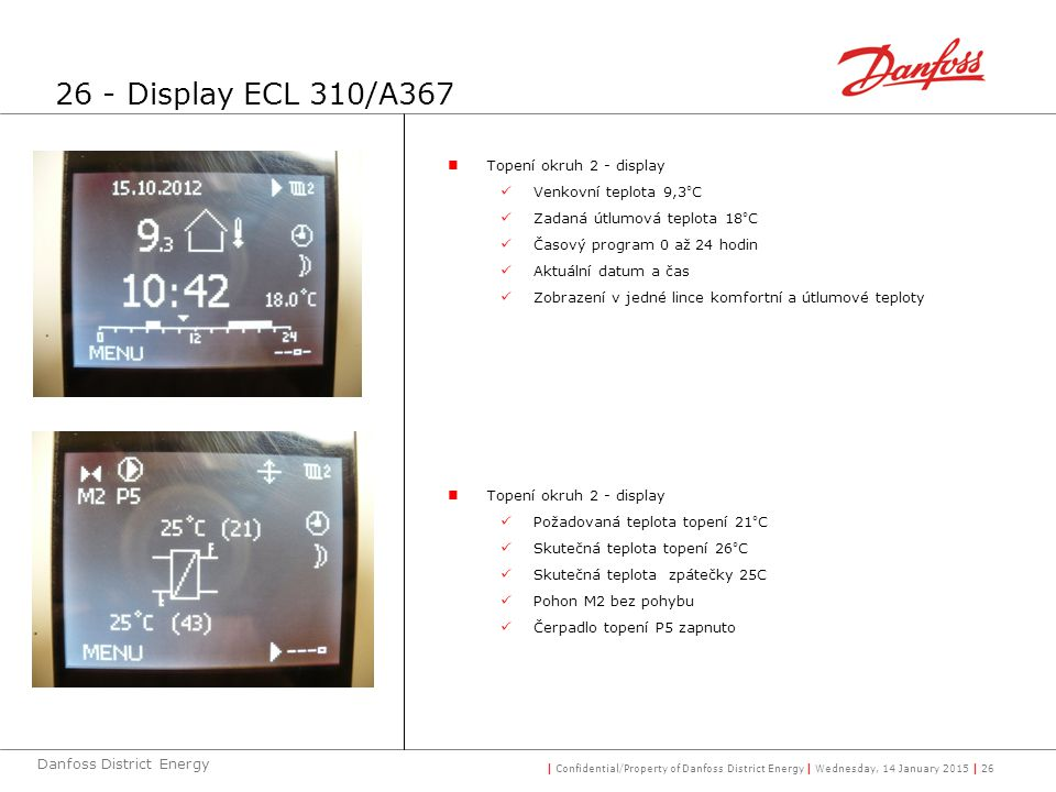 26 - Display ECL 310/A367 Topení okruh 2 - display