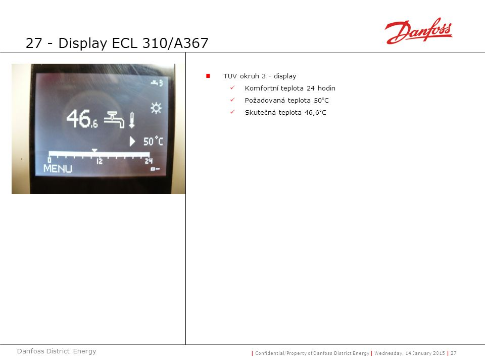 27 - Display ECL 310/A367 TUV okruh 3 - display