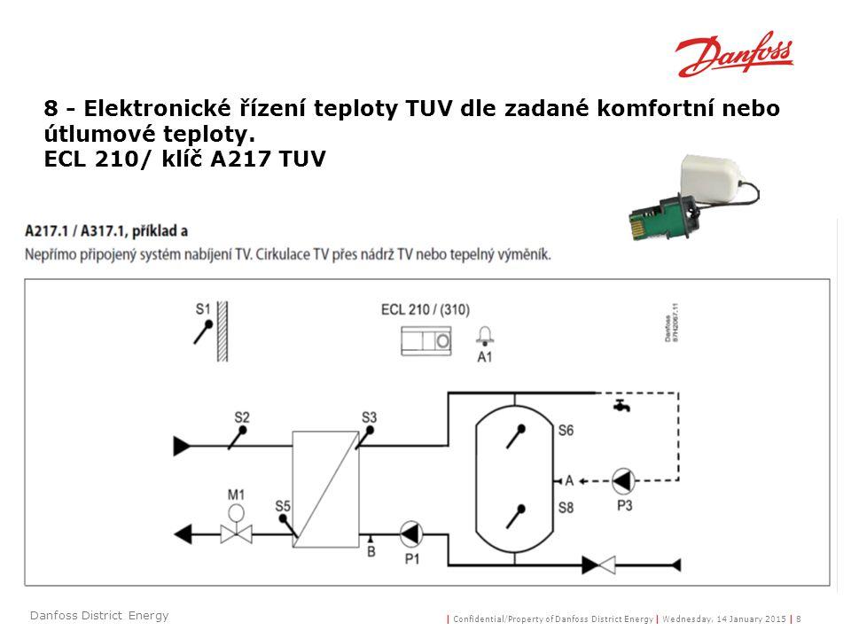 8 - Elektronické řízení teploty TUV dle zadané komfortní nebo útlumové teploty.