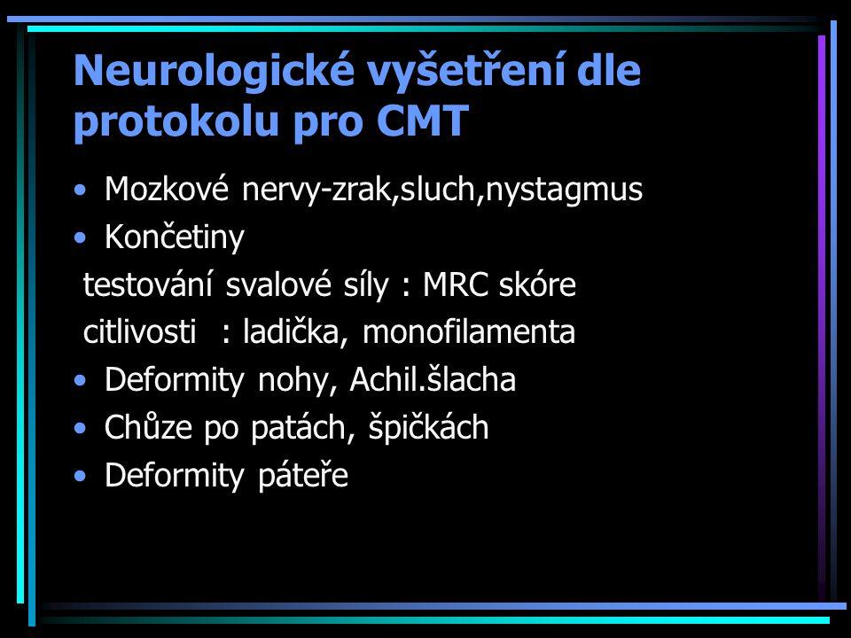 Neurologické vyšetření dle protokolu pro CMT