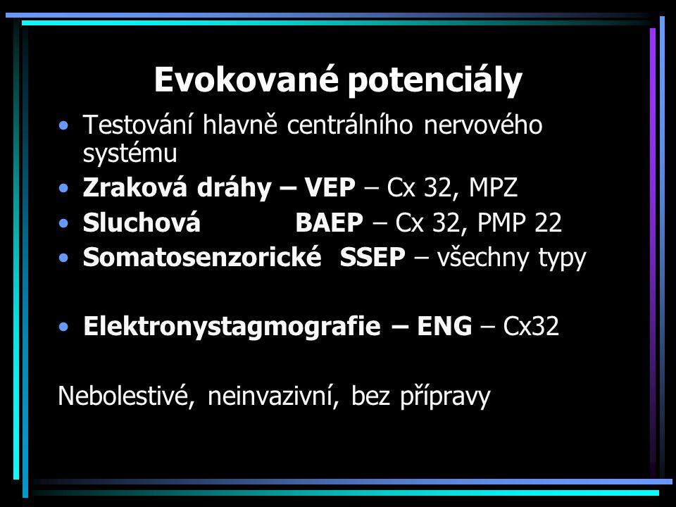 Evokované potenciály Testování hlavně centrálního nervového systému