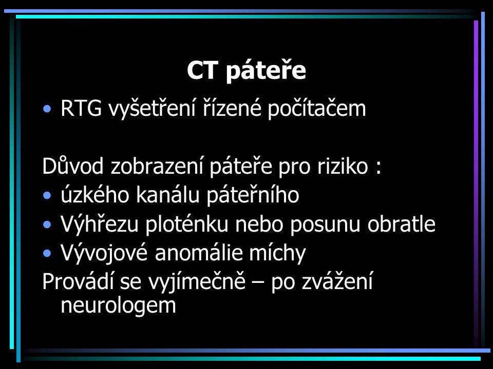 CT páteře RTG vyšetření řízené počítačem