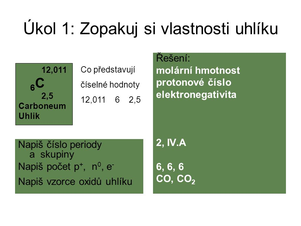 Úkol 1: Zopakuj si vlastnosti uhlíku