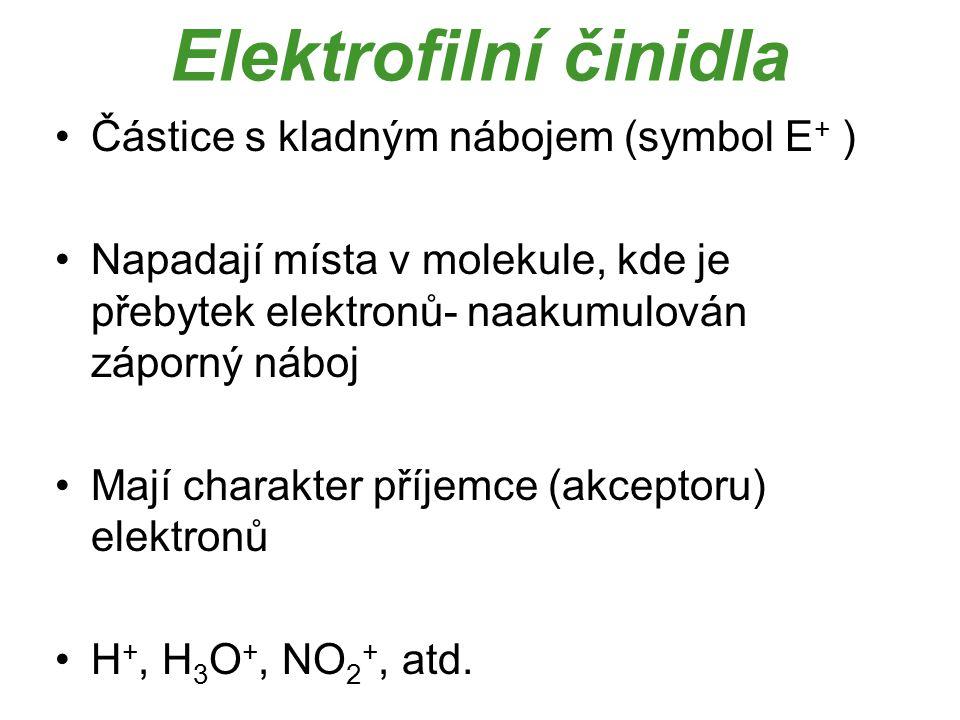 Elektrofilní činidla Částice s kladným nábojem (symbol E+ )