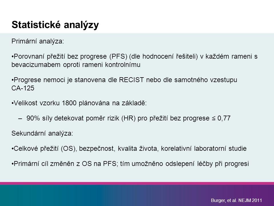 Statistické analýzy Primární analýza: