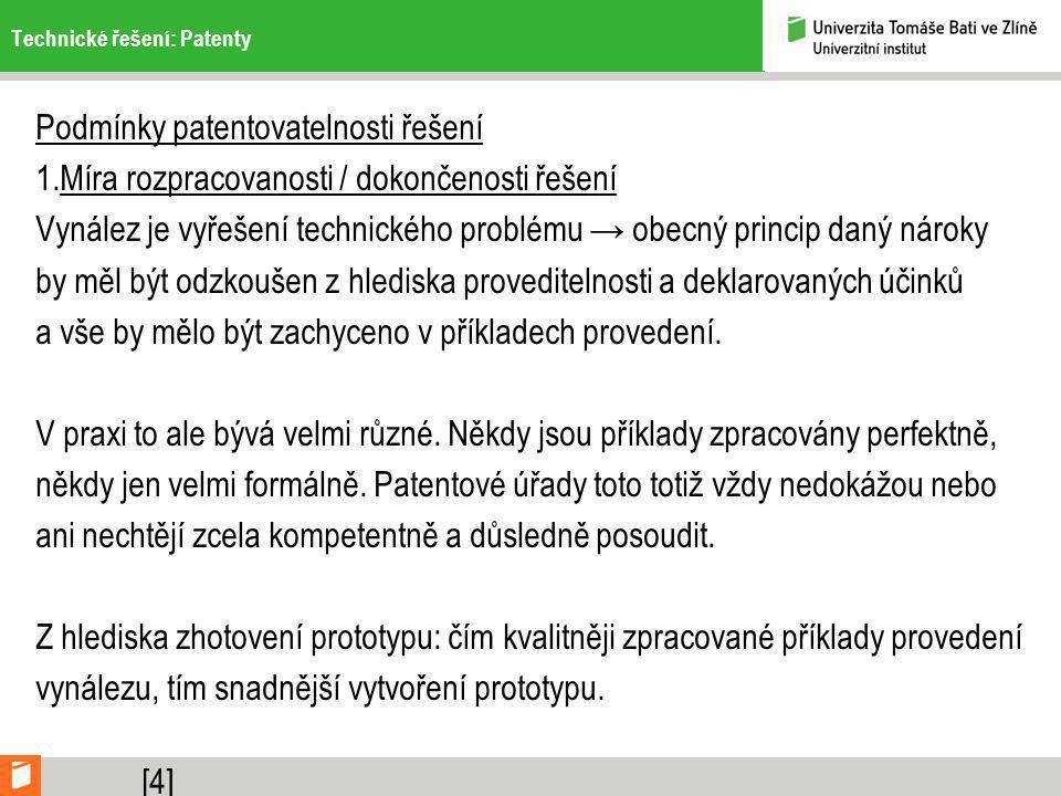 Technické řešení: Patenty