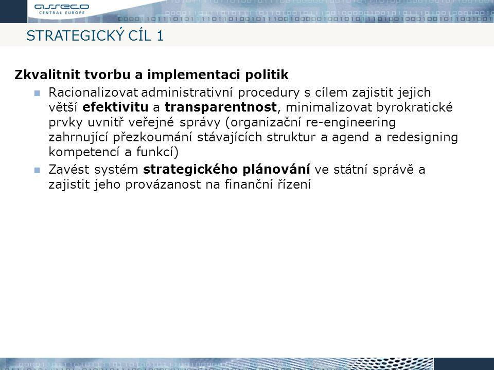 Strategický cíl 1 Zkvalitnit tvorbu a implementaci politik