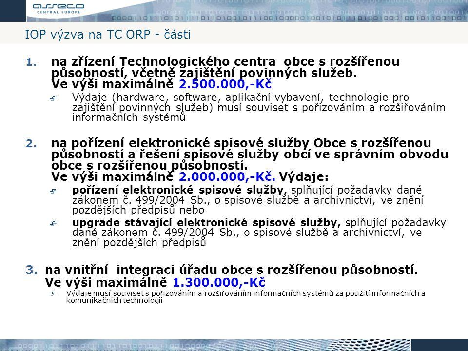 IOP výzva na TC ORP - části