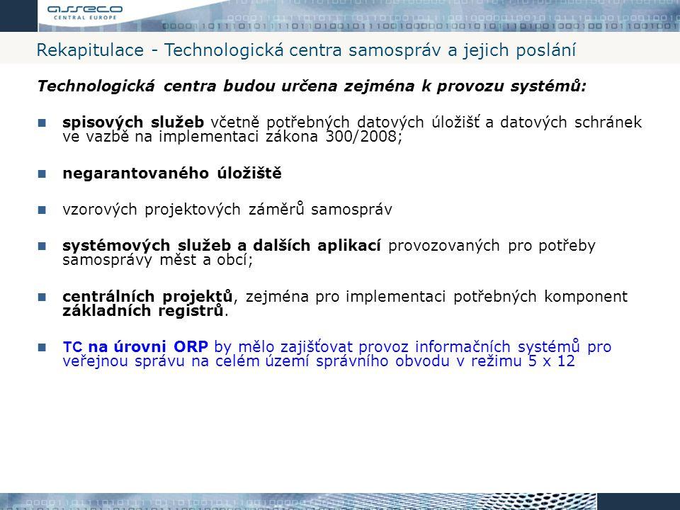 Rekapitulace - Technologická centra samospráv a jejich poslání