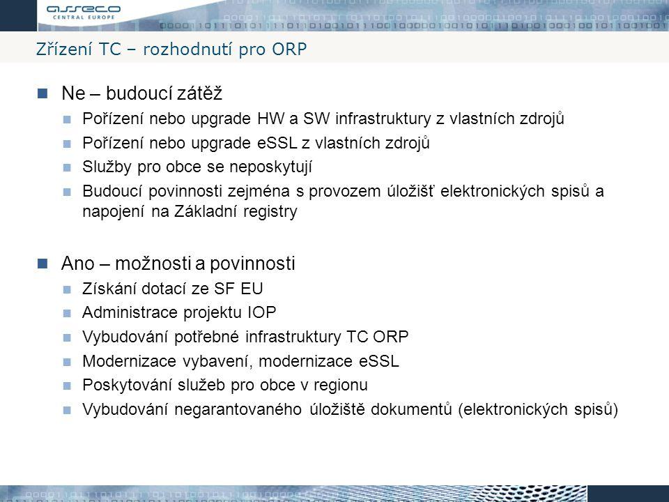 Zřízení TC – rozhodnutí pro ORP
