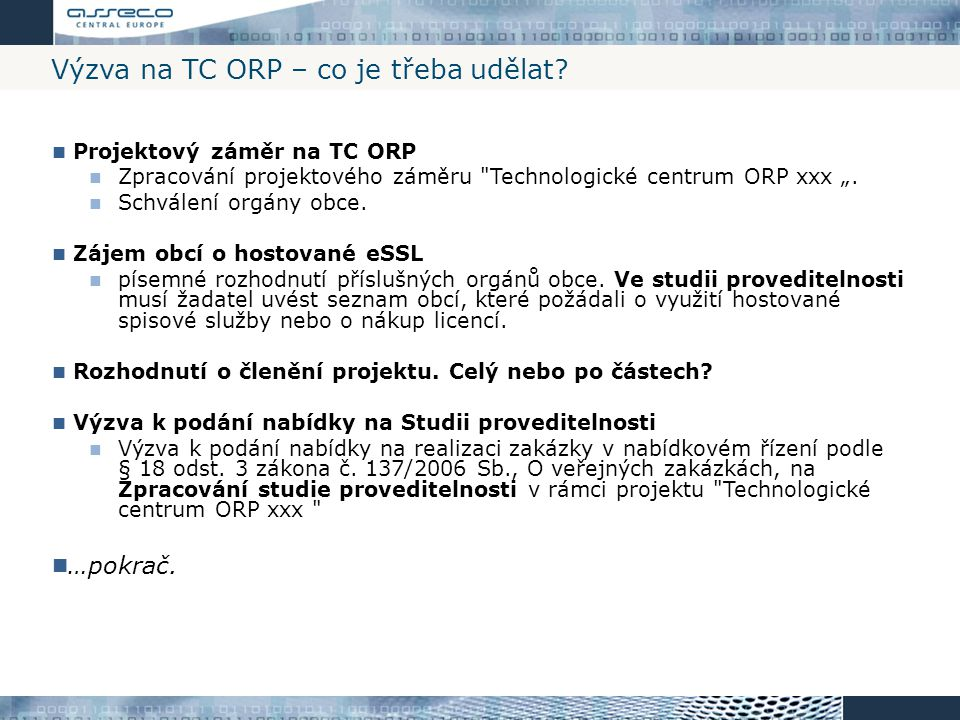 Výzva na TC ORP – co je třeba udělat
