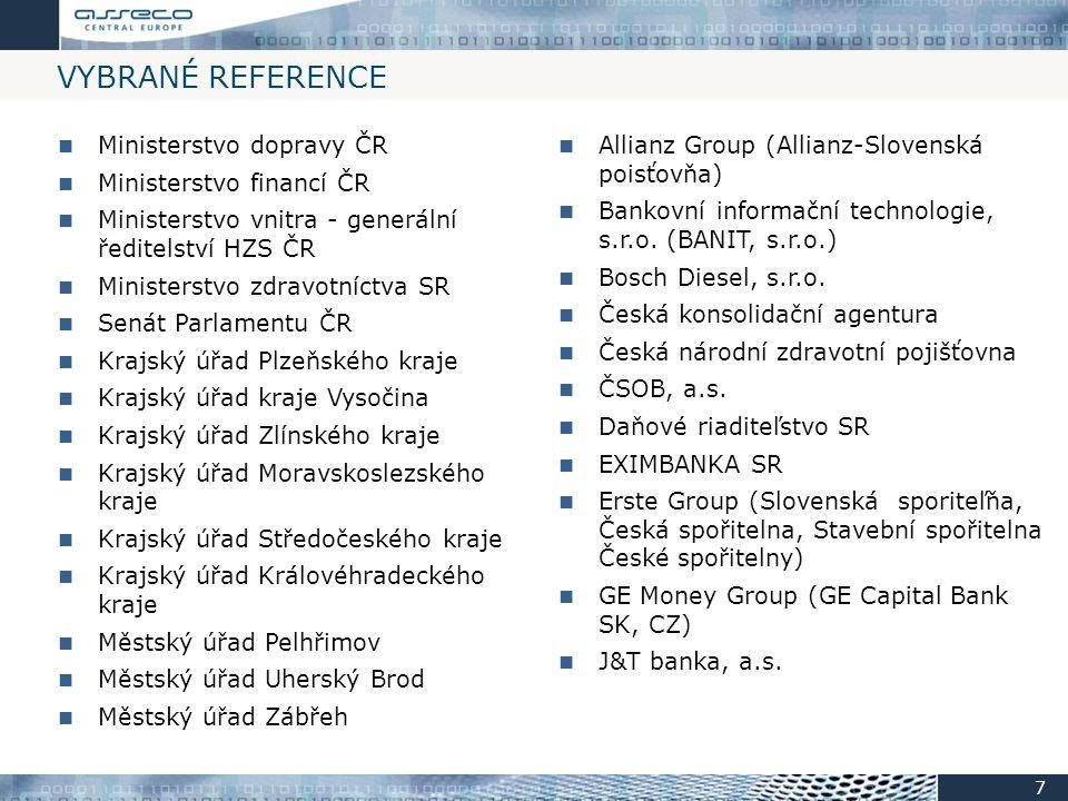 Vybrané Reference Ministerstvo dopravy ČR Ministerstvo financí ČR