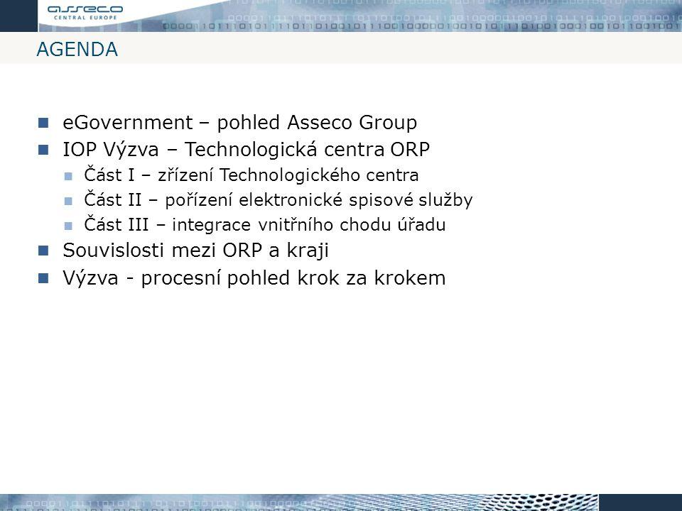 eGovernment – pohled Asseco Group IOP Výzva – Technologická centra ORP
