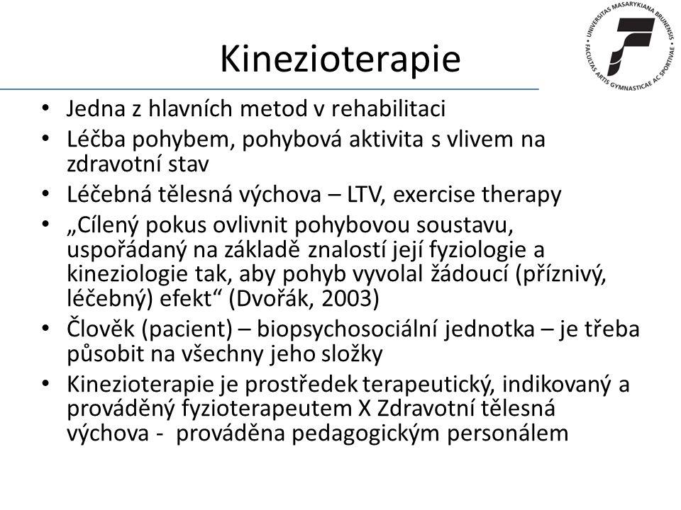 Kinezioterapie Jedna z hlavních metod v rehabilitaci
