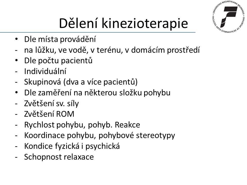 Dělení kinezioterapie