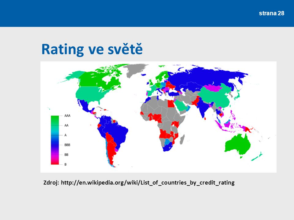 Rating ve světě Zdroj: http://en.wikipedia.org/wiki/List_of_countries_by_credit_rating