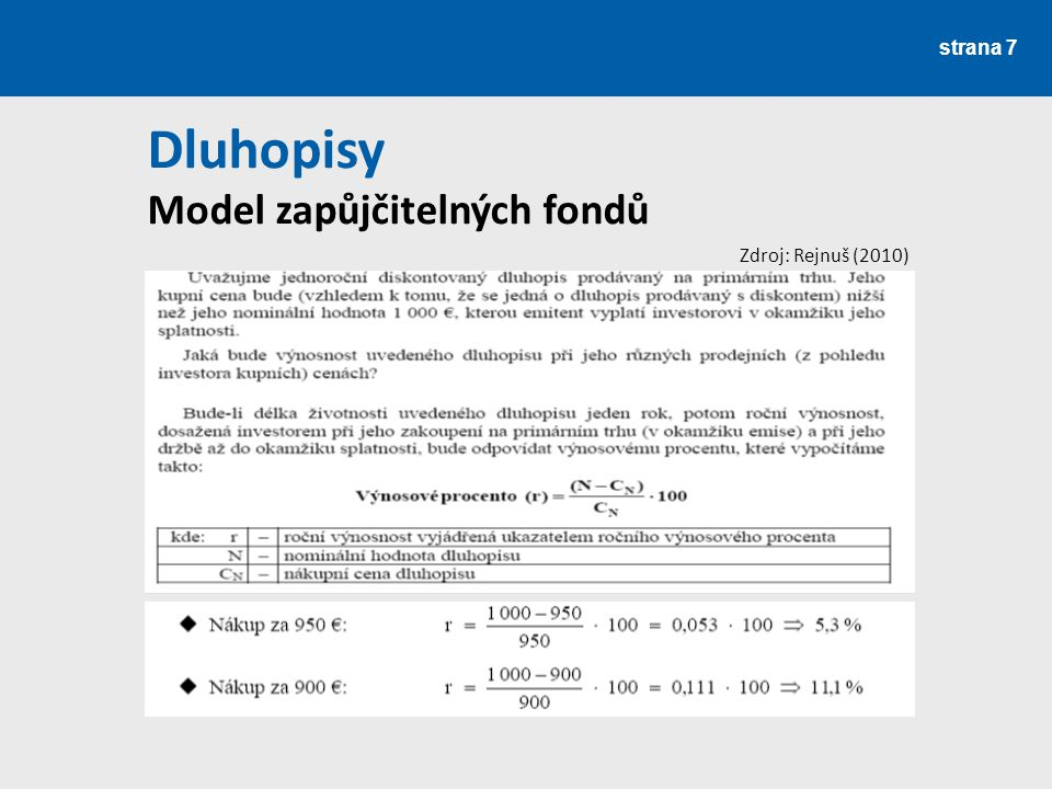 Dluhopisy Model zapůjčitelných fondů