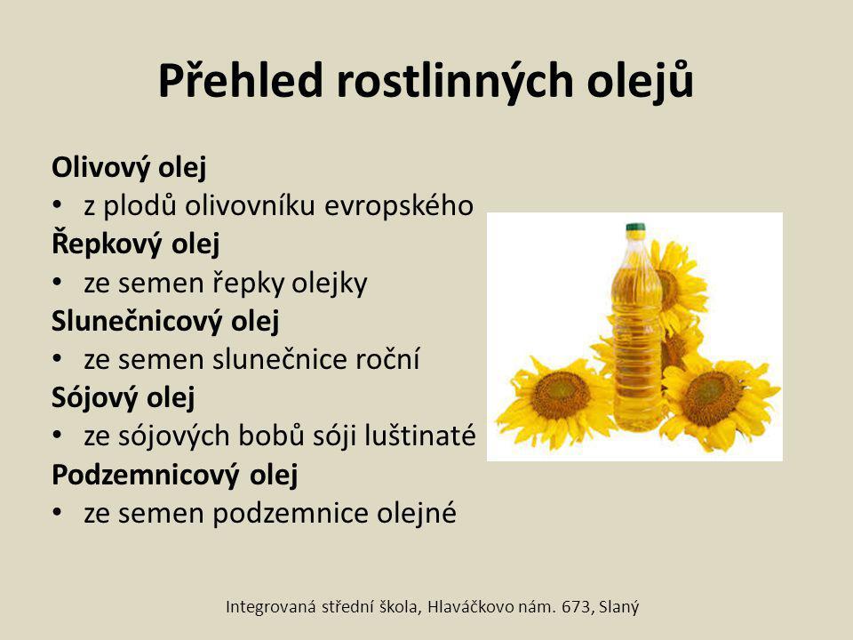 Přehled rostlinných olejů