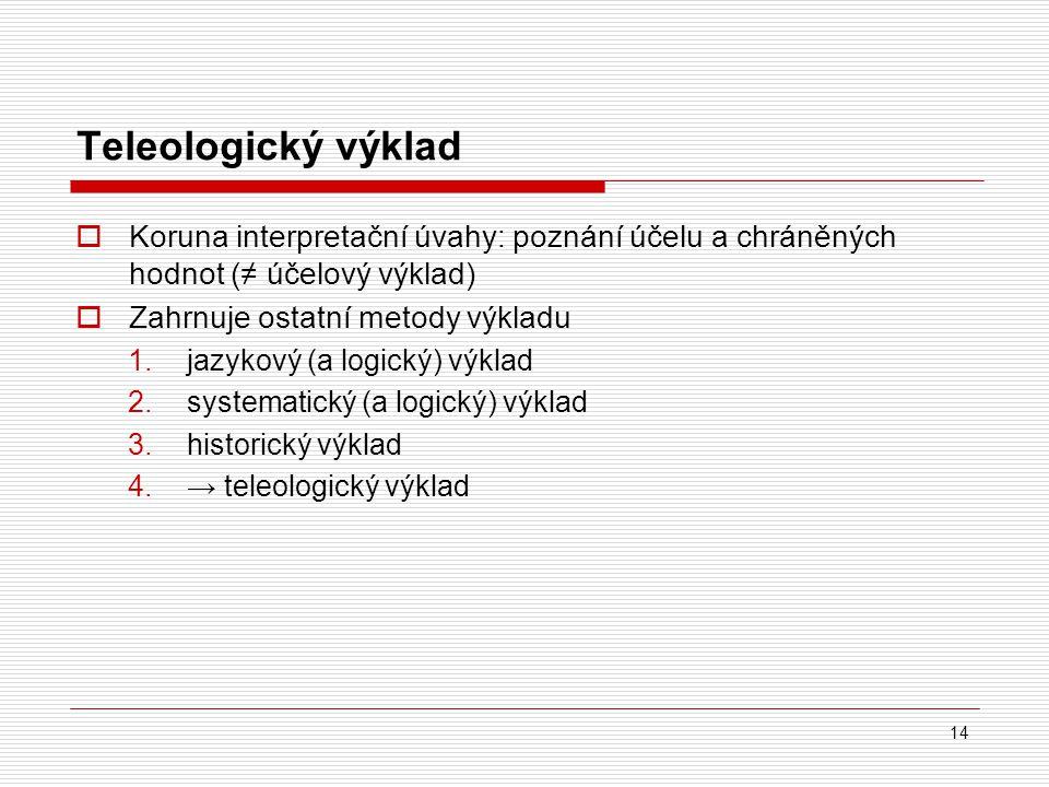 Teleologický výklad Koruna interpretační úvahy: poznání účelu a chráněných hodnot (≠ účelový výklad)