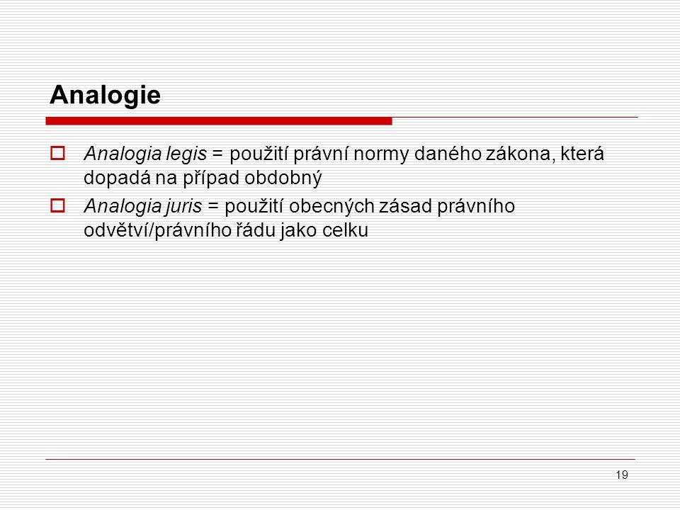 Analogie Analogia legis = použití právní normy daného zákona, která dopadá na případ obdobný.