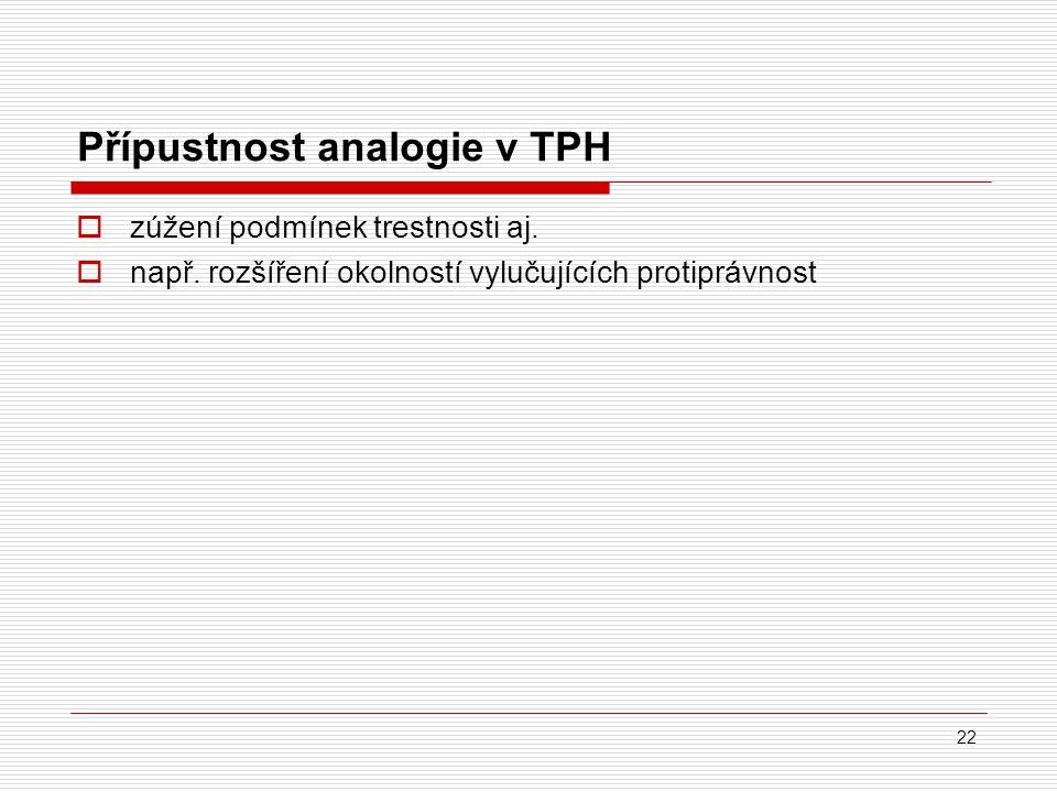 Přípustnost analogie v TPH