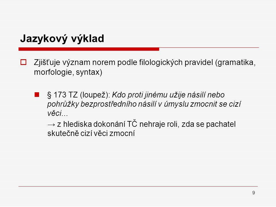 Jazykový výklad Zjišťuje význam norem podle filologických pravidel (gramatika, morfologie, syntax)