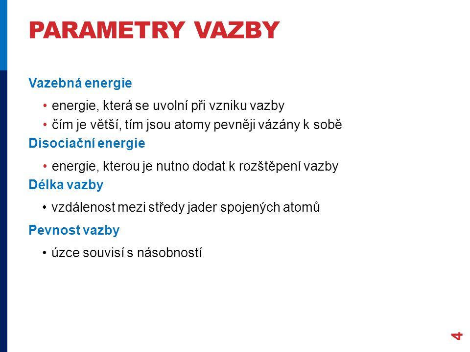 Parametry vazby Vazebná energie