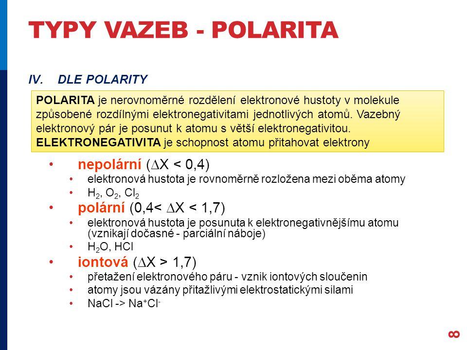 Typy vazeb - polarita nepolární (X < 0,4)