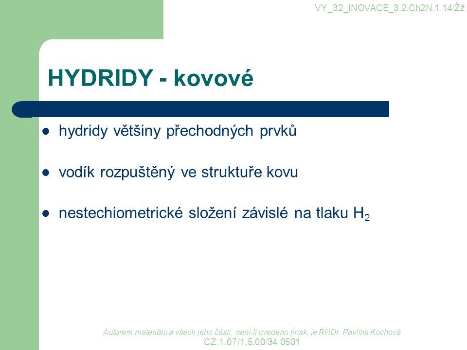 HYDRIDY - kovové hydridy většiny přechodných prvků