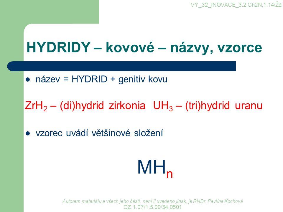 HYDRIDY – kovové – názvy, vzorce