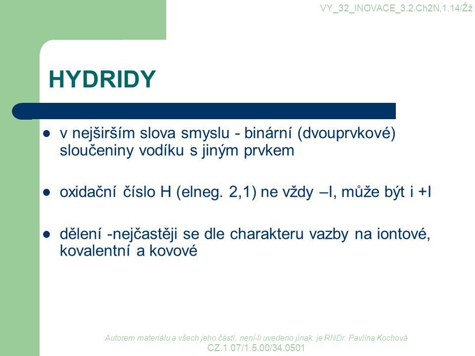 VY_32_INOVACE_3.2.Ch2N,1.14/Žž HYDRIDY. v nejširším slova smyslu - binární (dvouprvkové) sloučeniny vodíku s jiným prvkem.