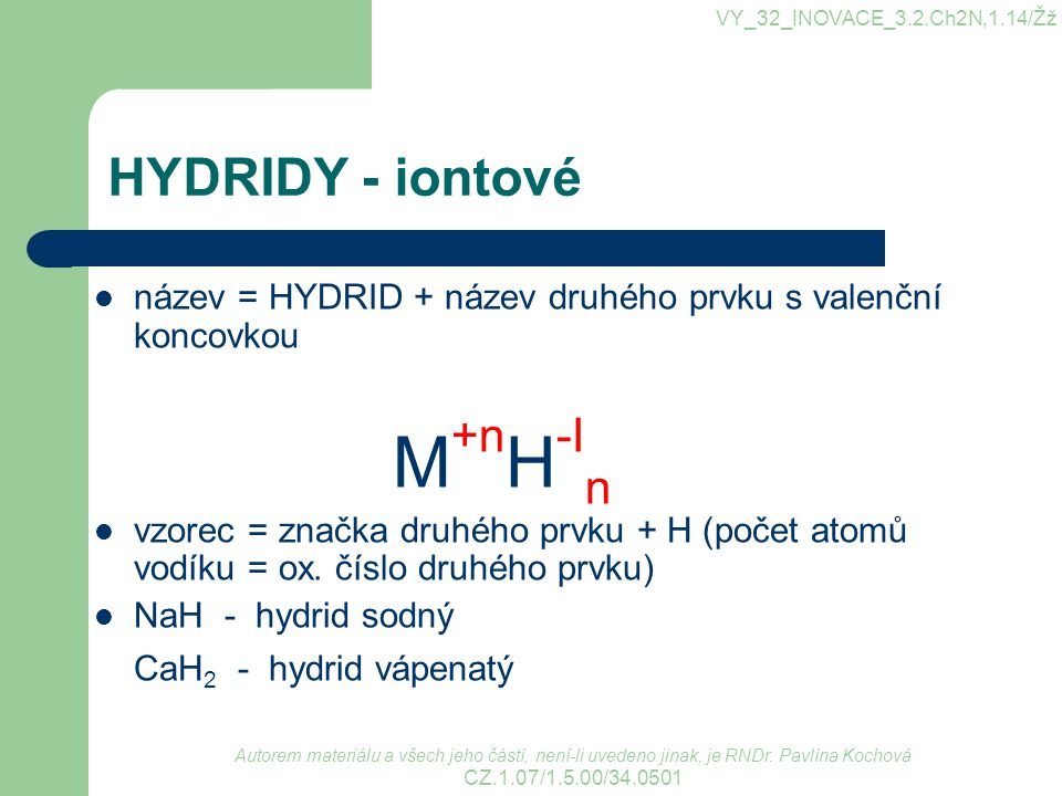 M+nH-In HYDRIDY - iontové