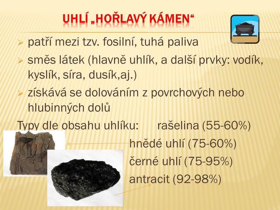 """Uhlí """"hořlavý kámen patří mezi tzv. fosilní, tuhá paliva. směs látek (hlavně uhlík, a další prvky: vodík, kyslík, síra, dusík,aj.)"""