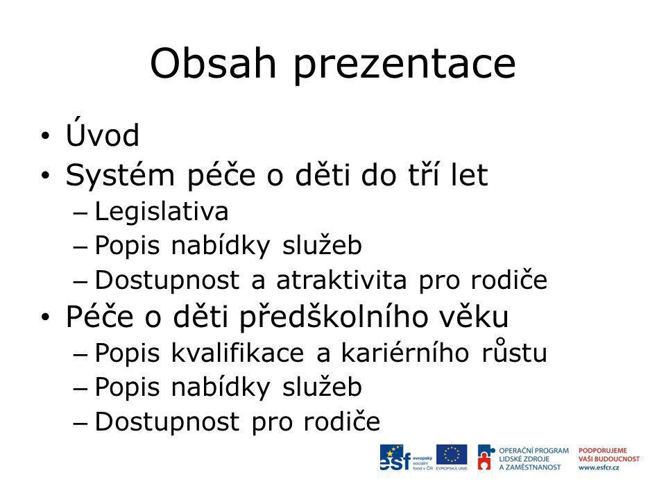 Obsah prezentace Úvod Systém péče o děti do tří let