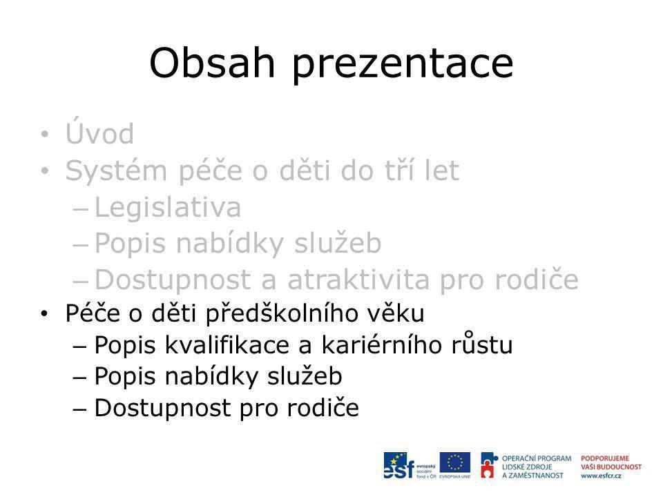 Obsah prezentace Úvod Systém péče o děti do tří let Legislativa