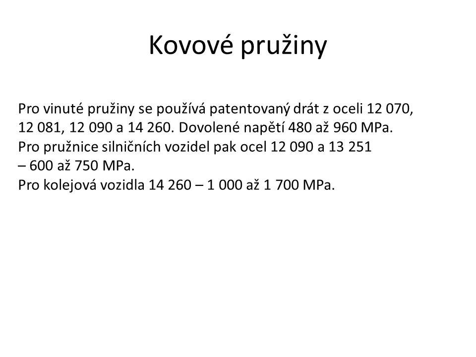 Kovové pružiny Pro vinuté pružiny se používá patentovaný drát z oceli 12 070, 12 081, 12 090 a 14 260. Dovolené napětí 480 až 960 MPa.