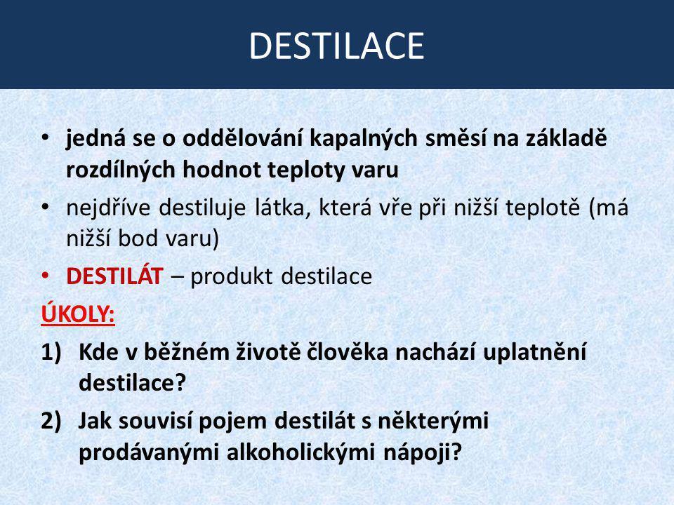 DESTILACE jedná se o oddělování kapalných směsí na základě rozdílných hodnot teploty varu.