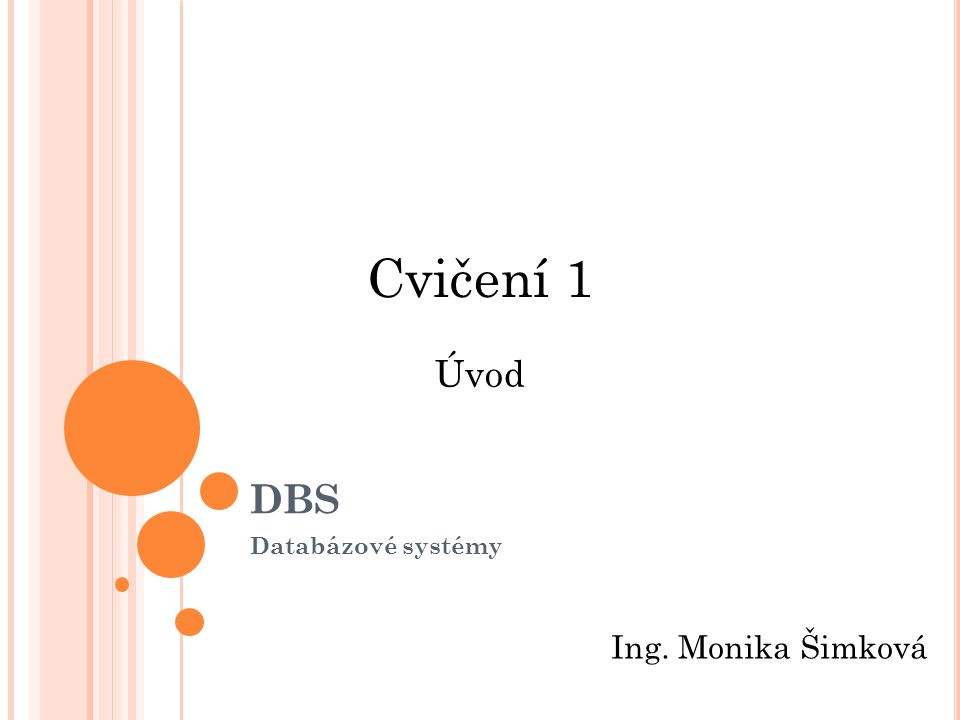 Cvičení 1 DBS Úvod Databázové systémy Ing. Monika Šimková