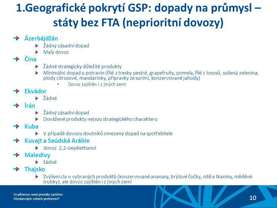 1.Geografické pokrytí GSP: dopady na průmysl – státy bez FTA (neprioritní dovozy)