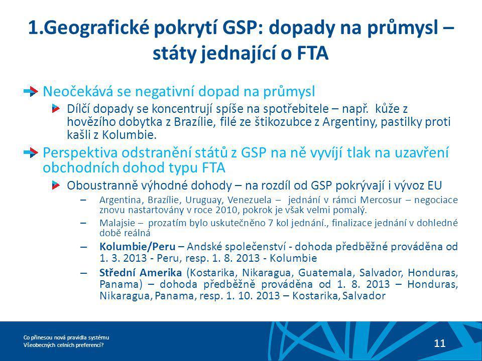 1.Geografické pokrytí GSP: dopady na průmysl – státy jednající o FTA