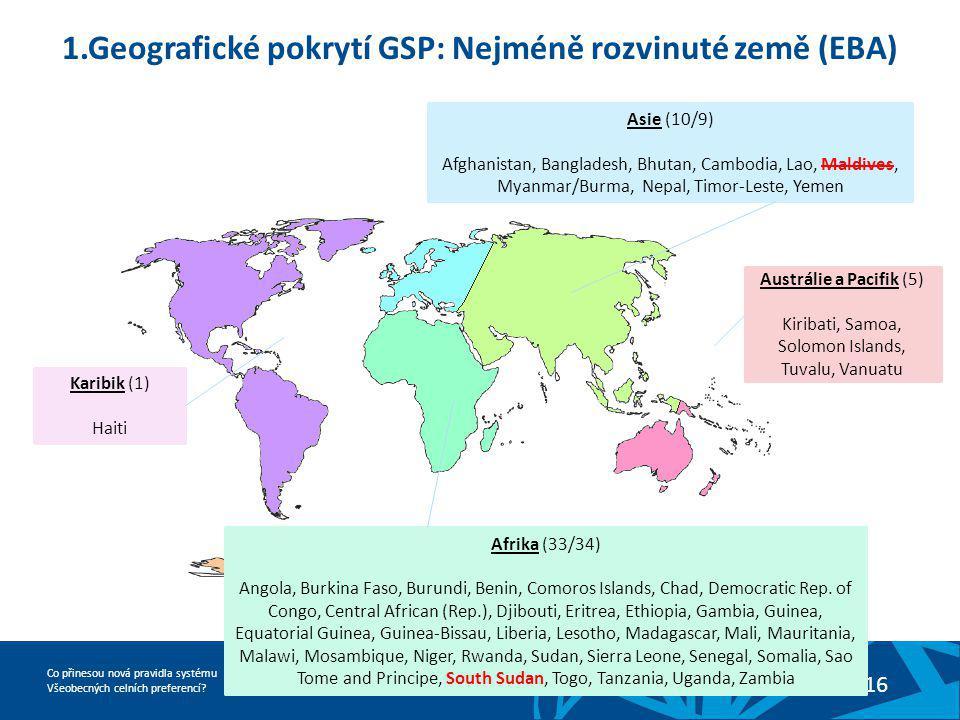 1.Geografické pokrytí GSP: Nejméně rozvinuté země (EBA)