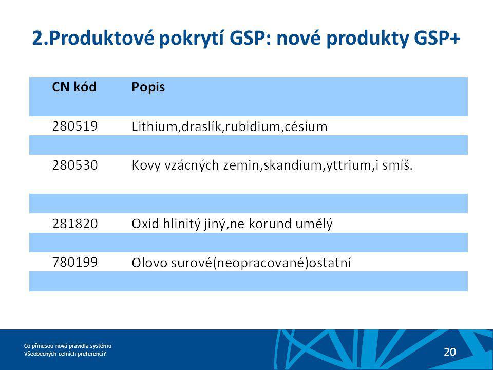 2.Produktové pokrytí GSP: nové produkty GSP+