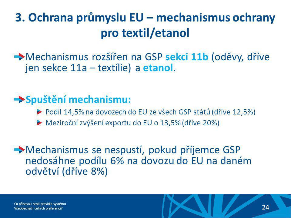 3. Ochrana průmyslu EU – mechanismus ochrany pro textil/etanol