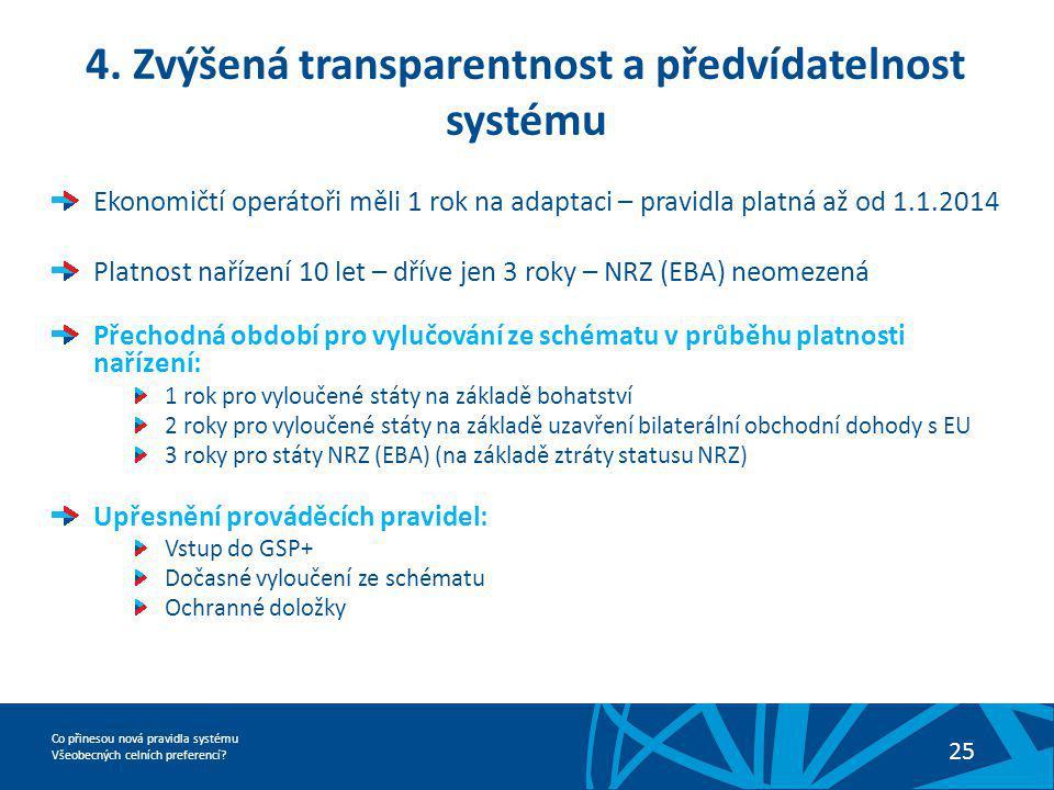 4. Zvýšená transparentnost a předvídatelnost systému