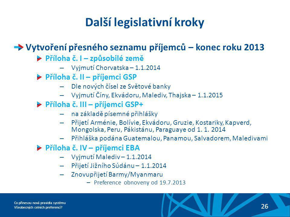 Další legislativní kroky