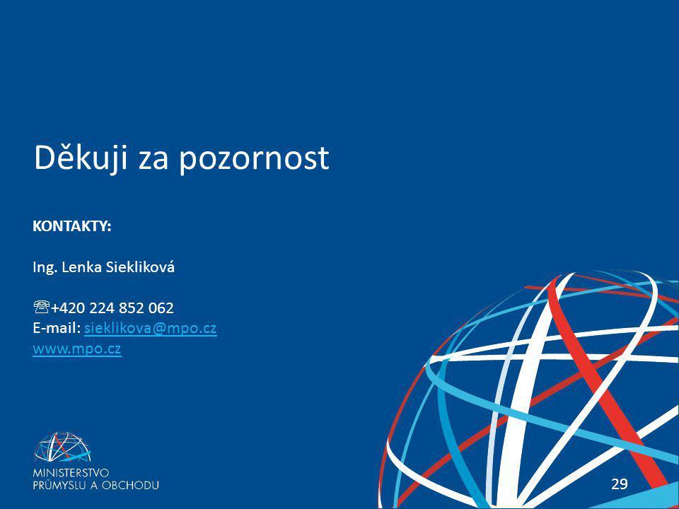Děkuji za pozornost KONTAKTY: Ing. Lenka Siekliková +420 224 852 062
